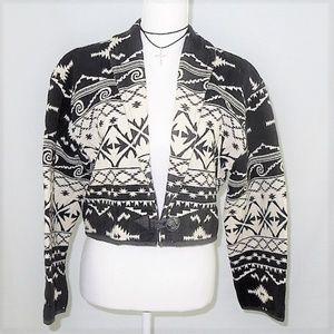 Vintage Cropped Jacket Tapestry Boho Black White